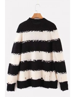 Black-white Stripe Ripped Round Neck Long Sleeve Casual Pullover Sweater