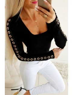Black Eyelet Square Neck Long Sleeve Casual Sweater