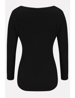 Black Eyelet Square Neck Long Sleeve Casual Sweater