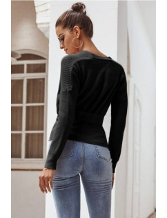 Black Button Up V Neck Long Sleeve Casual Cardigan