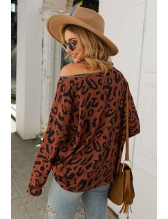 Brown Leopard Long Sleeve Casual Pullover Sweater