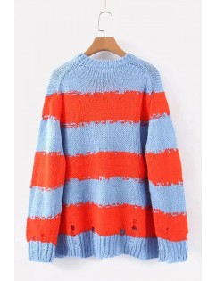 Blue Stripe Ripped Round Neck Long Sleeve Casual Pullover Sweater
