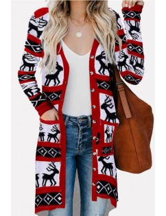 Christmas Reindeer Button Up Pocket Casual Cardigan