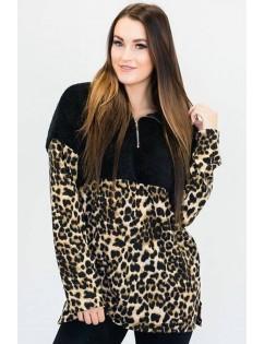 Black Leopard Splicing Zipper Up Pocket Casual Sweatshirt