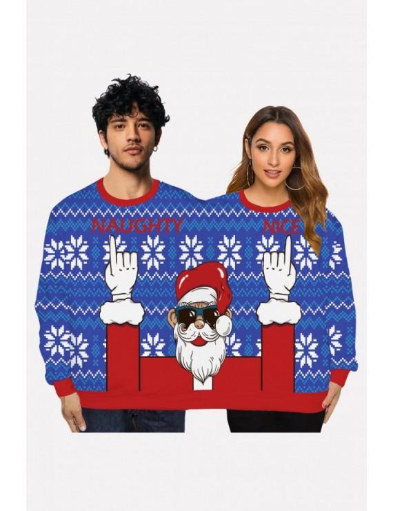 Blue Two Person Santa Claus Print Long Sleeve Christmas Sweatshirt