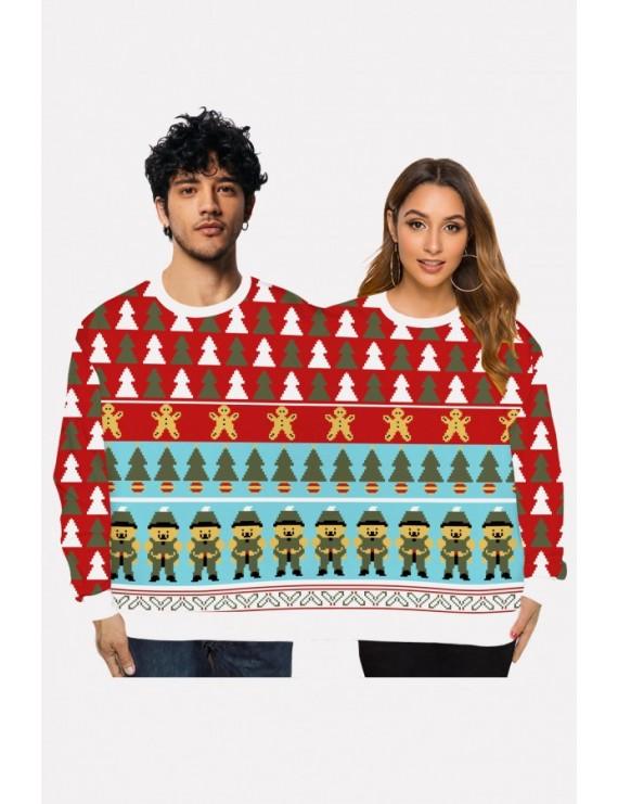 Multi Two Person Christmas Print Round Neck Long Sleeve Cute Sweatshirt