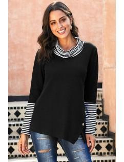 Black Stripe Cowl Neck Long Sleeve Casual Sweatshirt