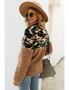 Brown Faux Fur Camouflage Zipper Up Pocket Casual Sweatshirt