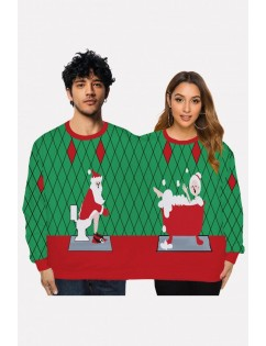Green Two Person Santa Claus Print Long Sleeve Christmas Sweatshirt