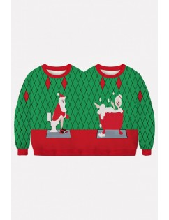 Green Two Person Santa Claus Print Long Sleeve Christmas Sweatshirt