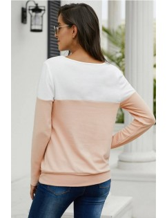 Apricot Two Tone Round Neck Long Sleeve Casual Sweatshirt