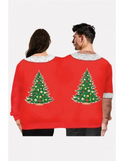 Red Two Person Body Print Crew Neck Long Sleeve Christmas Sweatshirt