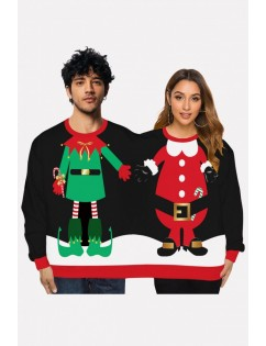 Black Two Person Santa Claus Print Long Sleeve Christmas Sweatshirt