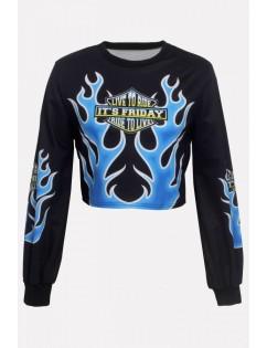 Black Printed Crew Neck Long Sleeve Casual Cropped Sweatshirt