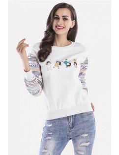 Graphic Round Neck Long Sleeve Casual Sweatshirt