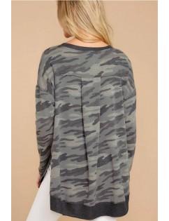 Gray Camouflage Slit Round Neck Casual Sweatshirt