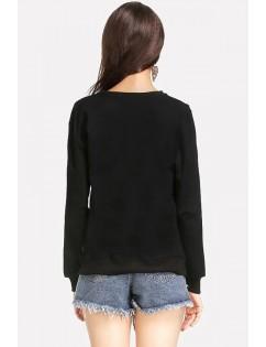 Black Letters Print Round Neck Casual Sweatshirt