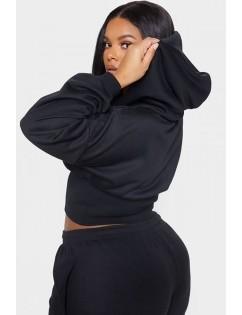 Black V Neck Hoodie Long Sleeve Casual Crop Top