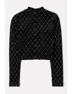 Black Velvet Printed Mock Neck Long Sleeve Basic Crop Top