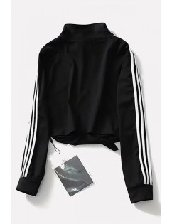 Black Stripe Side Knotted Zipper Up Long Sleeve Casual Crop Top