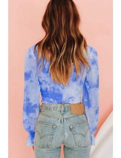 Blue Tie Dye Shirred Long Sleeve Casual Crop Top