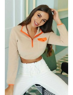 Apricot Contrast Front Pocket Long Sleeve Casual Crop Top