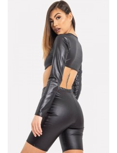 Black Faux Leather Crew Neck Long Sleeve Sexy Crop Top