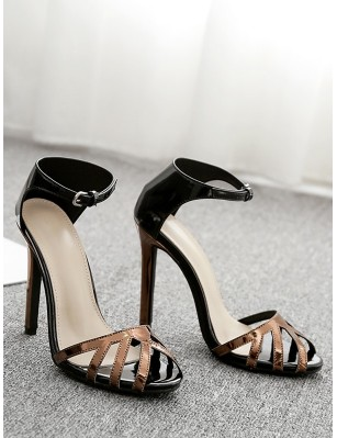 Ankle Wrap Design Stiletto Heel Sandals - Black Eu 40