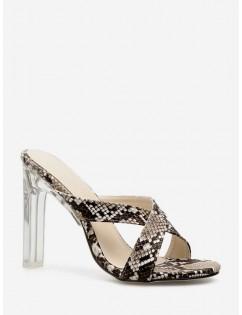 Crystal Heel Animal Skin Print Pattern Sandals - Brown Eu 39