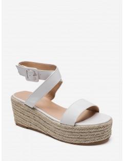 Cross Strap PU Flatform Espadrille Sandals - White Eu 36