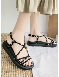 Cross Strap Polka Dot Pattern Sandals - Black Eu 38