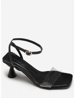 Clear Strap Strange Heel Sandals - Black Eu 36