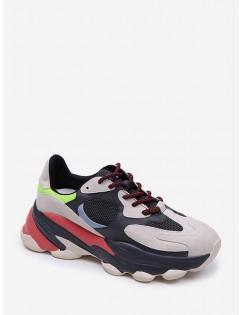 Color-Blocking Breathable Mesh Dad Sneakers - Black Eu 40