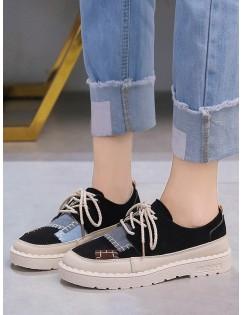 Color Block Patch Low Heel Shoes - Black Eu 40
