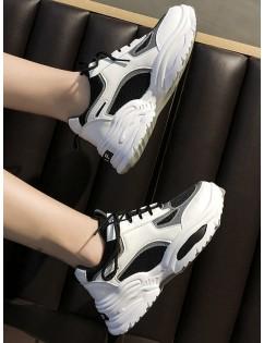 Contrast Trim Breathable Mesh Dad Sneakers - Black Eu 39