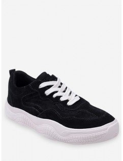 Fur Lined Lacing Casual Sneakers - Black Eu 37
