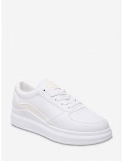 Contrast Trim PU Leather Skate Shoes - White Eu 39