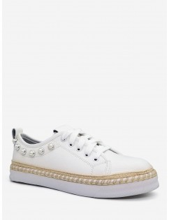 Faux Pearl Decorative Low Top Espadrille Sneakers - White 38