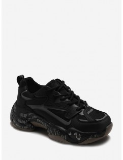 Letter Midsole Low Top Outdoor Sneakers - Black Eu 40