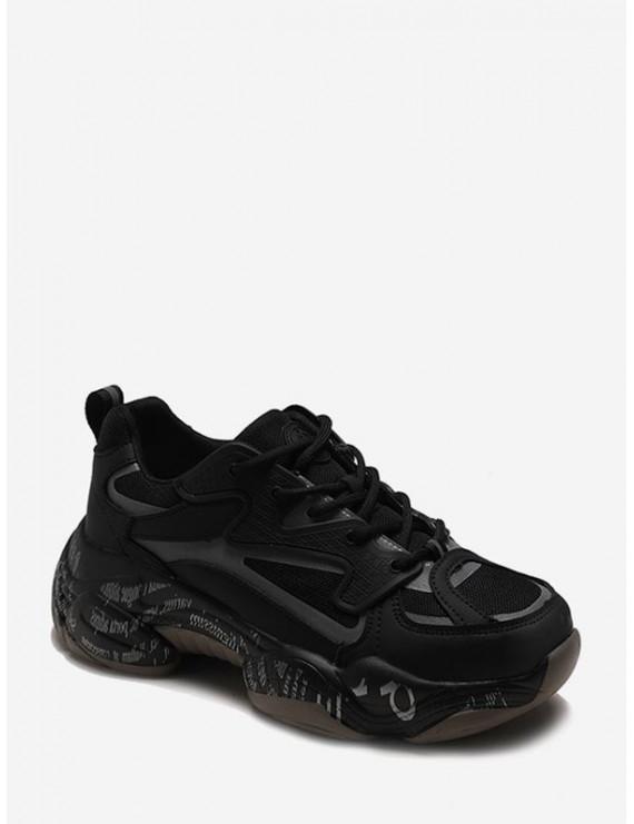 Letter Midsole Low Top Outdoor Sneakers - Black Eu 40