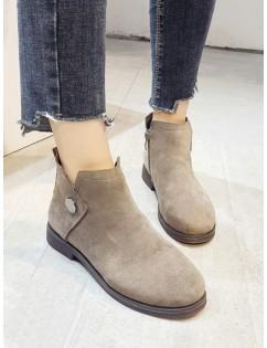 Button Detail Low Heel Ankle Boots - Light Khaki Eu 39