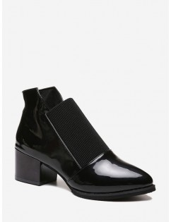 Pointed Toe Patch Slip On Ankle Boots - Black Eu 35
