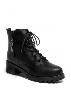 Zip Accent Lace Up Ankle Boots - Black Eu 40