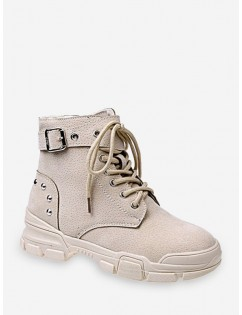 Lace Up Ankle Boot With Studs - Beige Eu 39