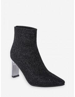 Glitter Pointed Toe Chunky Heel Boots - Black Eu 38