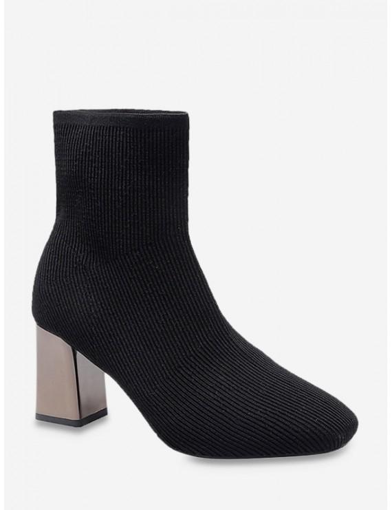 Metallic Chunky Heel Sock Short Boots - Black Eu 38