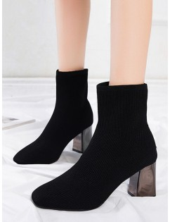 Metallic Chunky Heel Sock Short Boots - Black Eu 38