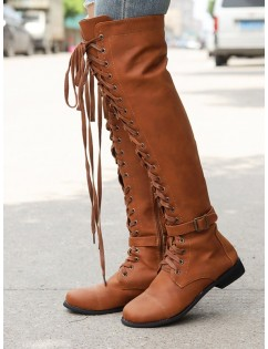 Low Heel Lace Up Over The Knee Boots - Brown Eu 39