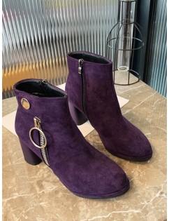 O-ring Zip Suede Chunky Heel Ankle Boots - Purple Iris Eu 38
