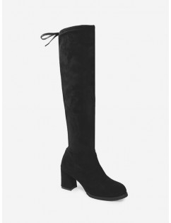 Faux Suede Chunky Heel Thigh High Boots - Black Eu 39